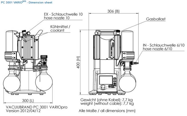 Vacuubrand PC3001 PRO VARIO Chemistry Diaphragm Dry Pumping Unit ...